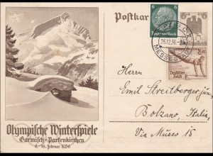 Ganzsache: Olypmpische Winterspiele 1936 - von Leipzig nach Italien