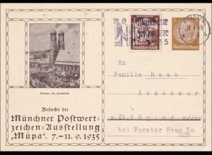 Ganzsache: München Postwertzeichen Ausstellung Müpa 1935 nach Töging am Inn