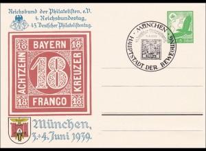 Ganzsache: 4. Reichsbundestag der Philatelisten in München 1939