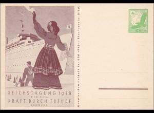 Ganzsache: Reichstagung KDF 1938 in Hamburg