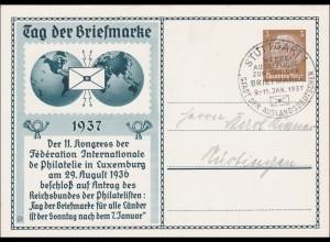 Ganzsache: Tag der Briefmarke 1937 von Stuttgart nach Nürtingen