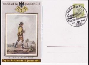 Ganzsache: Tag der Briefmarke 1941 Chemnitz