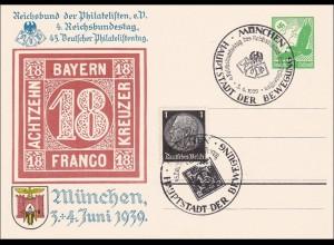 1939 Ganzsache: 45. Deutscher Philatelistentag München
