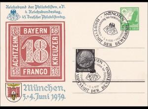 Ganzsache: 45. Deutscher Philatelistentag München 1939