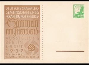 Ganzsache: Sammeln und Feierabend, Ausstellung Berlin 1937 KDF