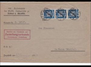 DR Dienst: Amtsgericht Röbel /Mecklenburg nach Waren/Muritz 1928
