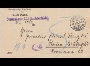 DR Dienst: Steuerkasse Lichtenfelde bei Berlin 1926 -Dienstsache mit Nachgebühr