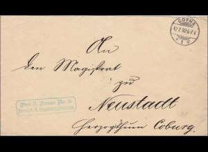 DR Dienst: Herzogl. Staatsministerium Gotha nach Neustadt/Coburg 1892