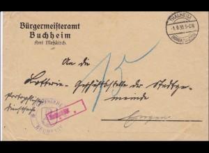 DR Dienst: Bürgermeisteramt Buchheim/Meßkirch/Thalheim nach Engen 1930