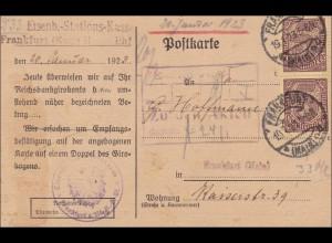 DR Dienst: Postkarte Eisenbahn-Stations-Kasse Frankfurt 1923