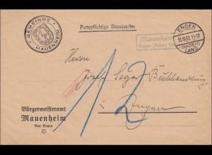 DR Dienst: Brief Gemeinde Mauenheim /Engen nach Hegau 1932