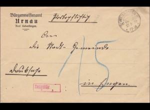 DR Dienst: Bürgermeisteramt Urnau bei Überlingen nach Engen 1930 mit Nachgebühr