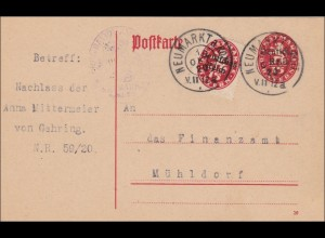 DR Dienst: Postkarte wegen Nachlass nach Mühldorf 1920
