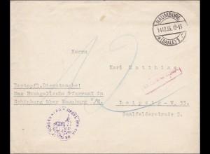 DR Dienst: Evang. Pfarramt Schönburg bei Naumburg nach Leipzig 1935 Nachgebühr
