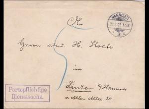 DR Dienst: Königl.Staats-Archiv Hannover nach Hannover-Linden 1901