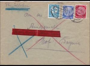DR Dienst: Eilbotenbrief von Zwickau nach Hof 1939