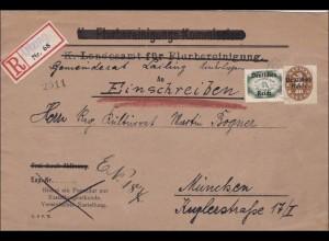 DR Dienst: Einschreiben Otzing nach München an den Gemeindrat 1921