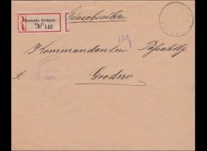 DR Dienst: Einschreiben Feldpost an Kommandanten Grodno 1918