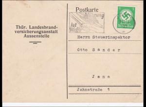 DR: Dienst:Postkarte MiNr. 134 EF von Thüringen nach Jena 1943 Nahrung-Waffe