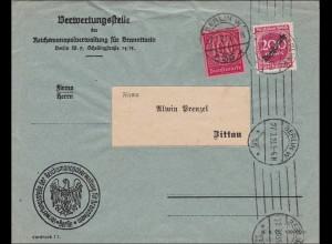 DR: Dienst: Reichsmonopolstelle Branntwein nach Zittau 1923 - Inflation