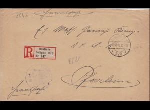 Feldpost Einschreiben 1918 nach Pforzheim