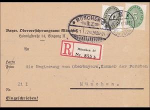 DR Dienst: Einschreiben München an Regierung Oberbayern Forsten 1929