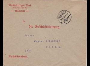 Brief Auswärtiges Amt Eildienst nach Gotha 1920