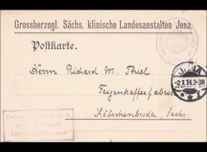 Sächsische Kliniken Jena nach Kötschenbroda/Sachsen Feigenkaffe 1914