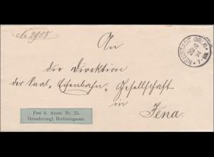 Brief Grossherzogl. Rechnungsamt Neuenstadt nach Jena 1894