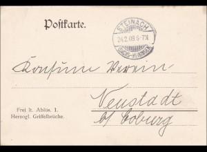 Herzogl. Griffelbrüche Steinach nach Neustadt/Coburg 1909