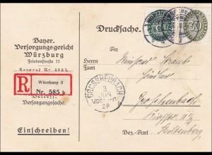 Versorgungsgericht Würzburg nach Grossheubach als Einschreiben 1928