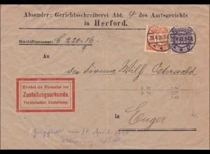 Gerichtsschreiber Amtsgericht Herford nach Engen 1920