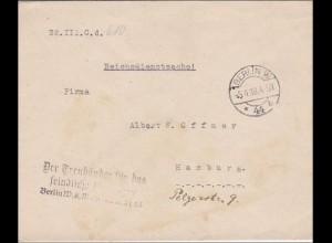 Brief Treuhändler für feindliches Vermögen nach Hamburg 1918