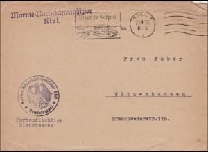 Marine Nachrichtenoffizier Kiel nach Witzenhausen - Werbestempel Kraftpost 1935