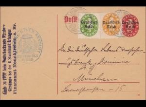 Ganzsache von Neunkirchen nach München 1920