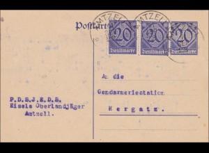 Ganzsache von Amtzell nach Hergatz - Oberlandjäger 1922