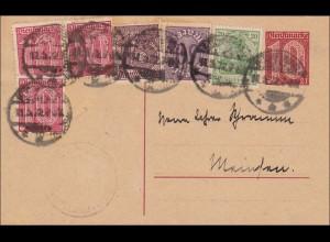 Ganzsache nach München 1922