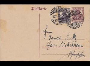 Saargebiet: Ganzsache Germania von Saarbrücken nach Bickelheim 1920