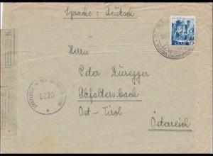 Saar: 1947 St. Ingbert nach Österreich mit Zensur britische Zone