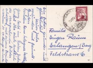Saar: 1954 Lach nach Erlangen auf Postkarte