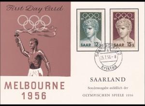 Saar: 1956 Olympiade Melbourne Ersttag Saarbrücken