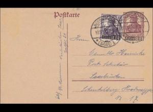 Saargebiet: Ganzsache Germania 1920 Neunkirchen nach Saarbrücken P2 II, 7