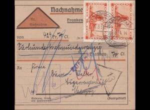 Saargebiet:Paketkarte Saarbrücken 1931; MiNr. 143 MeF