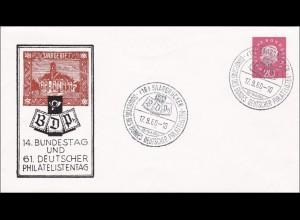Saarland: Deutscher Philatelistentag, und Bundestag, 1960 Saarbrücken