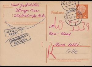Saarland: 1957 von Illingen nach Celle Retour - Ganzsache