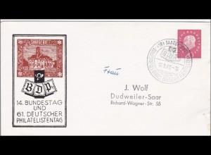 Saar: 1960 Philatelistentag und Bundestag Saarbrücken