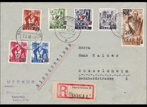 Saar: 1948 zwei R-Briefe von Saarbrücken nach Rüsselsheim