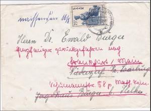 Saar: Brief von Kleinblittersdorf 1950