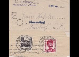 Saar: 1948 Drucksache von Sulzbach nach Klarenthal