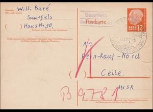 Saar: 1957 von Saarfels nach Celle - Ganzsache